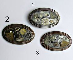 steampunk belt buckle oval watch parts black antique by GUSFREE