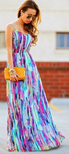 Rainbow Colorful Condole Belt Strappy Floor Length Bohemian Chiffon Maxi Dress - Maxi Dresses - Dresses