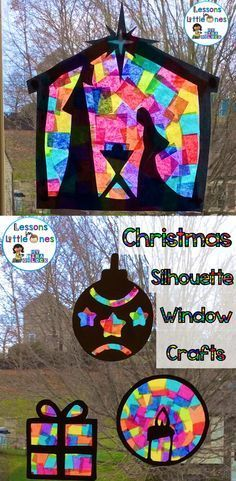 Christmas Silhouette Window Decoration Craft! Gorgeous crafts for kids to make this holiday season! I love all the colors! #wintercraftsforkids #kidsChristmascrafts