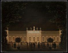 Orangeriet i Kungsträdgården (Vauxhallen) illuminerad vid Borgerskapets fest den 21 augusti 1791 med anledning av Gustav III:s hemkomst från Aachen, 1791, olja på trä, 45,5 x 90 cm
