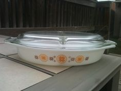 CLEARANCE Pyrex Divided Dish with lid in town and country pattern retro vintage on Etsy, $10.00