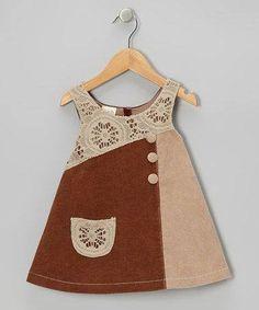 the Silly Sissy Brown Crocheted Corduroy Dress - Toddler & Girls Dress Anak, Baby Dress Design, Frock Design, Baby Frocks Designs, Toddler Girl Dresses, Toddler Girls, Girl Dress Patterns, Applique Dress, Little Girl Dresses