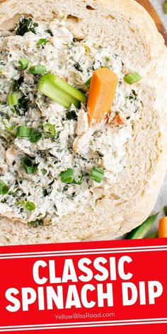 This classic spinach dip recipe is a real crowd pleaser. Easy to make with just a few simple ingredients, it's creamy and crunchy and full of flavor. Try this for Thanksgiving, it makes a great appetizer! Knorr Spinach Dip, Chopped Spinach, Creamed Spinach, Great Appetizers, Easy Appetizer Recipes, Dip Recipes, Dried Vegetables, Frozen Vegetables, Classic Spinach Dip Recipe