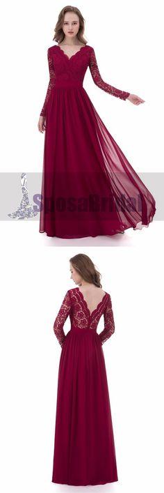 Red Long Sleeve Deep V-Neck Full Lace Prom Dresses, Popular Custom Bridesmaid Dresses, Simple Prom Dress, Elegant Prom Dresses, Dresses Short, Wedding Dress Styles, Nice Dresses, Ball Dresses, Wedding Dresses, Ball Gowns, Evening Dresses
