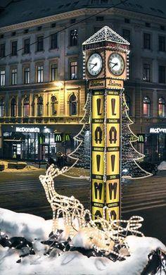 Laima clock during winter time. Riga