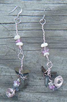 Beach Jewels Wire Wrapped Shark Tooth Earrings