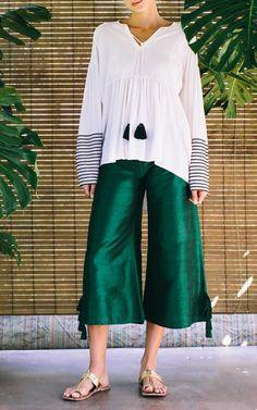 Tina Striped Sleeve Tassel Top by RHODE RESORT for Preorder on Moda Operandi