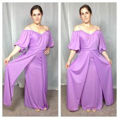 $25 Vintage Retro disco 70s Grecian purple draped maxi gown dress #Dresses