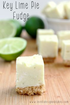 This Key Lime Pie Fudge is such an easy recipe! Its creamy and full of lime flavor! Bonus, no thermometer needed! Make it with or without the graham cracker crust! #fudge #keylime #easy