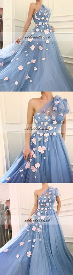 One Shoulder Tulle Prom Dress, Charming A-Line Applique Prom Dress, KX314
