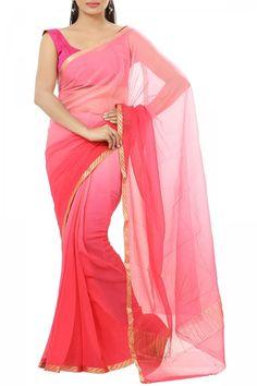Salmon & Brink Pink Shaded Pure Chiffon Zari Border Saree