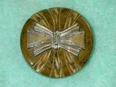 Antique Vintage Carved  Bakelite Button w OME Silver Metal Bow Chunky Gorgeous Large