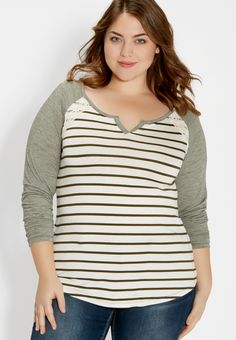 plus size striped baseball tee with lace (original price, $29.98) available at #Maurices