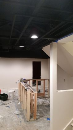 Exposed Basement Ceiling Sprayed Black DIY