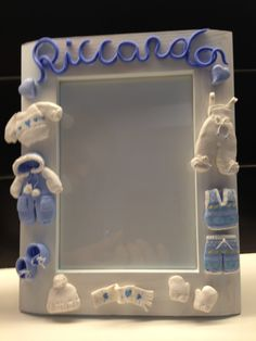 Male Birth frame - fimo decorated