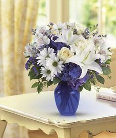 Beautiful in Blue by @1stinflowers.com #birthday #flowers