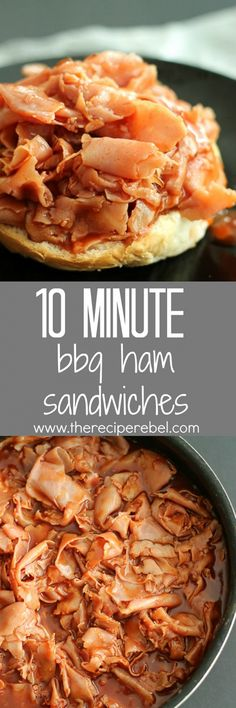 10-Minute BBQ Ham Sandwiches: Sweet, smoky ham in an easy homemade barbecue sauce that you can whip up in 10 minutes! Beat the dinner time rush with this quick, flavorful meal! www.thereciperebel.com