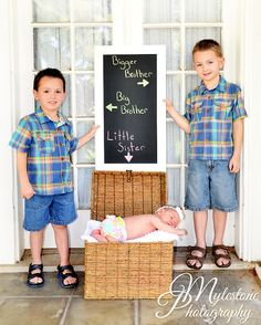 Brothers with Baby Sister Photo By Myle Collins Mylestone Photography newborn portrait, newborn picture, siblings, brother and sister, big brothers, little sister, baby sister