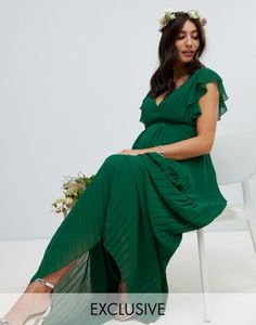 TFNC Maternity flutter sleeve bridesmaid maxi dress with pleated skirt in forest green