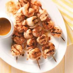 Spicy Shrimp and Scallop Kabobs-could do with just a pound of shrimp & serve with steak