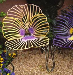 PlumSiena: Garden Art by Joy de Rohan Chabot. (for the patio) Viooltjes stoelen Garden Chairs, Garden Furniture, Antique Furniture, Porch Furniture, Lawn Chairs, Funky Furniture, Garden Bed, Furniture Stores, Outdoor Flowers