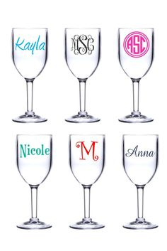 Personalized 8oz. Acrylic Wine Glasses.  The look of glass without the fear of breakage.  They can go where traditional wine glasses cannot. From C. Claire Embroidery and Personalization