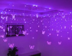 Purple 16 Butterfly 100 LED STRING Holiday Lights Festival Party Wedding in Home & Garden, Lamps, Lighting & Ceiling Fans, String Lights, Fairy Lights