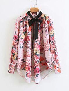 69c99f9e1b51 Tie Neck Dolphin Hem Floral BlouseFor Women-romwe Cheap Blouses, Blouses  For Women,