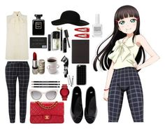 Dia Kurosawa [Love Live] by spinescent on Polyvore featuring Oasis, H&M, Chanel, Lacoste, Topshop, Fendi, Casetify, Forever 21, Bobbi Brown Cosmetics and Aesop