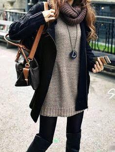 Scarf w/ fall sweater