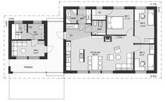 Hyvänkokoinen koti vaikka pienelle perheelle. Isoimmassa makuuhuoneessa on isohko vaatehuone, ja kahdessa pienemmässä makuuhuoneessa hyvin tilaa esim. kunnon työpöydälle. Erikoisuutena erillinen saunarakennus, jossa on suuri pukuhuone oleskeluun ja vilvoitteluun. Saunarakennus on yhdistetty taloon katetulla terassilla, jota on mahdollista jatkaa avomallina. Asuinrakennuksen huoneistoala 83,5 m², saunarakennuksen 17 m². My Dream Home, House Plans, Sweet Home, Floor Plans, Cottage, Layout, How To Plan, Building, Furniture