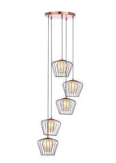 Lowa Caged Copper Cluster Light x – Black Brass Ceiling Light, Ceiling Lights, Copper Interior, Cluster Lights, Pendant Lighting, Stair Lighting, Bedroom Lighting, Frosted Glass, Hanging Lights