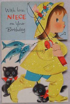 #112 60s NORCROSS Girl in GLITTERED Rain Coat, Vintage DIE-CUT Greeting Card