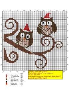 chouettes bonnets Cross Stitch Owl, Cross Stitch Freebies, Cross Stitch Charts, Cross Stitch Designs, Cross Stitch Embroidery, Cross Stitch Patterns, Christmas Charts, Christmas Tree Pattern, Christmas Cross