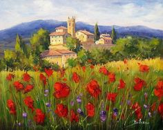 Bloomed landscape Toscana by Bruno Chirici Italy Landscape, Landscape Art, Landscape Paintings, Oil Pastel Drawings, Italy Painting, Italy Art, Italian Artist, Texture Painting, Beautiful Landscapes
