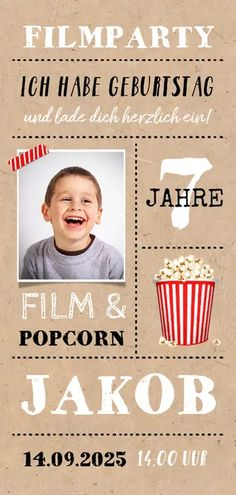 Einladung zur Filmparty mit Foto - Kindergeburtstag #kindergeburtstag #filmparty #einladungskarten #einladungskarte #einladungen #einladung #geburtstagseinladung #kaartje2go Hollywood Party, Kino Party, Pajama Party, Diy And Crafts, Teaching, Kids, Movies, Movie Posters, Alter