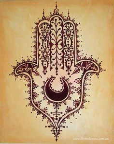 Desert Hamsa - hand of fatima henna style painting on ochre background, North african, Moroccan design. $44.00, via Etsy.