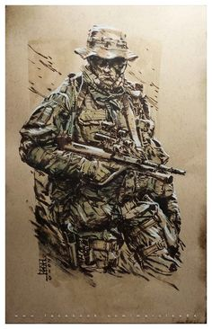 "Marc Lee ""Austrian Jagdkommando - Numquam Retro"" Watercolor, brush pen and white pencil on brown paper."