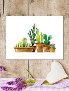 Cactus printableCactus printWatercolor by MakesMyDayHappy on Etsy