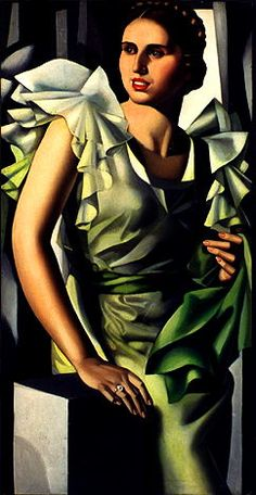 Portrait of a Young Lady and a Square Column  Tamara de Lempicka