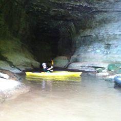 Kayaking and spelunking at the same time. Lake Guntersville, Alabama.