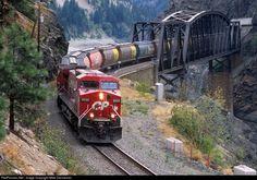 CP 9533 Canadian Pacific Railway GE at Cisco, British Columbia, Canada by Mike Danneman Canadian National Railway, Canadian Pacific Railway, Train Pictures, Cool Pictures, Locomotive, British Columbia, Freight Transport, Holiday Train, Railroad Photography