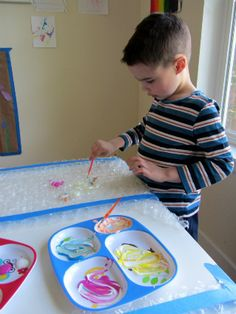 painting bubble wrap craft