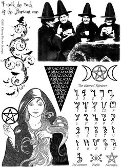 Witch Time- Halloween, Pagan Goddess, crones, Magic alphabet - set of UNmounted rubber stamps by Cherry Pie