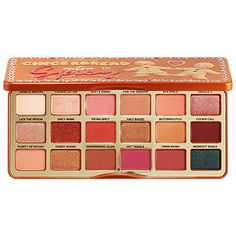 Shop Too Faced's Gingerbread Extra Spicy Eyeshadow Palette at Sephora. This eye shadow palette full of colors inspired by the flavors and colors of Christmas treats. Eyeshadow Palette Too Faced, Makeup Palette, Eyeshadow Makeup, Sephora Lipstick, Too Faced Palette, Younique Eyeshadow, Lipstick Swatches, Makeup Dupes, Makeup Kit