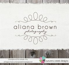 Premade Logo Design - Modern Whimsy Swirl Frame Border Logo - Photography Logo Hand Drawn