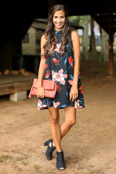 The Perfect Bloom Black Floral Print Dress at reddressboutique.com
