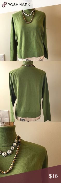 Talbots Dark army green turtleneck sweater Very good condition. Some very minor, almost unnoticeable piling. Raglan style sleeves. Add this to a bundle to save 15%. For jewelry, visit profile for a link to shop. Talbots Sweaters Cowl & Turtlenecks