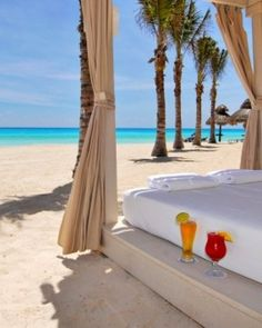 Canopy beds and a full-service spa (with a mint-scented steam room) front a swath of soft sand. Omni Cancun Hotel and Villas, Cancun, Mexico