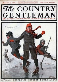 Norman Rockwell illustrated   Country Gentleman Magazine Cover, January 19, 1918.